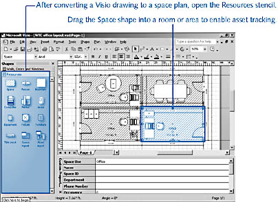 Figure 26 7. Visio Tracks Information In A Floor Plan By Space, Which