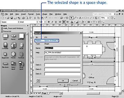 Defining Spaces in a Floor Plan | Microsoft Visio Version 2002 ...