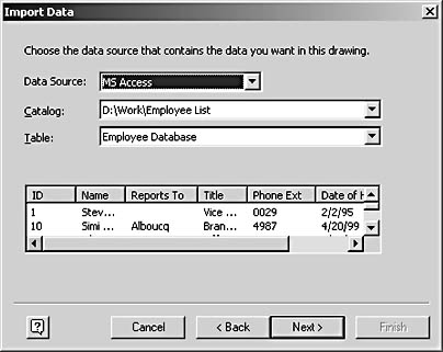 figure 26-14. after you select a data source, you can choose the catalog and table that contain the information you want. this access database doesn't support catalogs, so the wizard displays its file name instead.