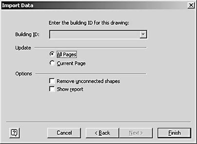 figure 26-17. the final screen of the import data wizard provides options that determine how the data will be placed in the drawing.