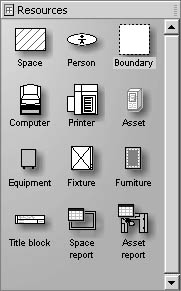 figure 26-20. to add people, equipment, and other assets manually to a space plan, drag a shape from the resources stencil into a space on your floor plan.