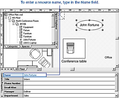 figure 26-21. you can identify a resource by typing a name in the custom properties window or by right-clicking a resource in the explorer window, and then choosing rename.