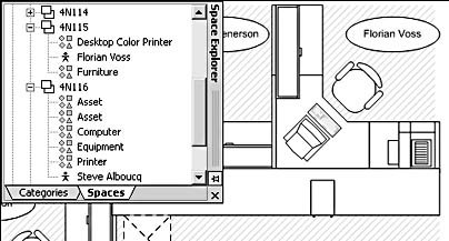 figure 26-23. on the spaces tab of the explorer window, you can see the resources that are associated with a particular space. here, the cubicle named 4n115 is associated with a person, a color printer, and some furniture.