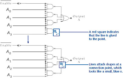 figure 27-10. because connector lines have a beginning and an end, use the connector tool to drag in the direction you want the line to flow.