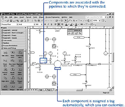 figure 27-13. when you start a new drawing with a process engineering template, the process toolbar and process engineering menu are added to the visio window.