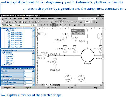 figure 27-14. valuable details about the model represented by component shapes are displayed in the component explorer and connectivity explorer, which you can dock in any convenient location on the screen.