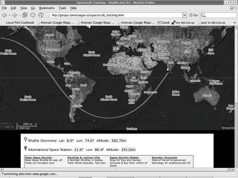 Hack 21. Track the International Space Station | Mashing Up Google Maps