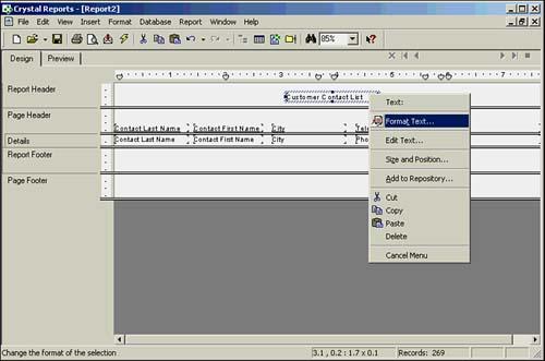 Modifying Object Properties for Formatting Purposes   Sams