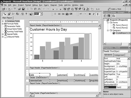 Building Reports with the Visual Basic Report Designer