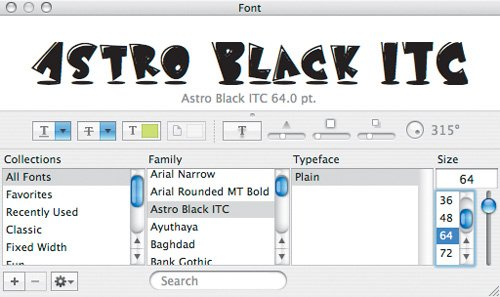 Font Panels | Designers Guide to Mac OS X Tiger