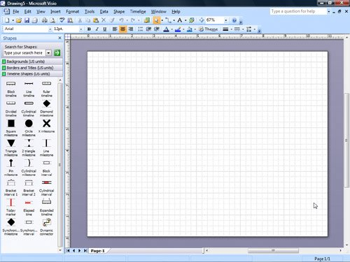 blank timeline image. Visio opens the Timeline
