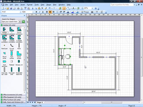 Adding Door Window And Furniture Shapes To Office Layouts Microsoft Office Visio 2007 Step