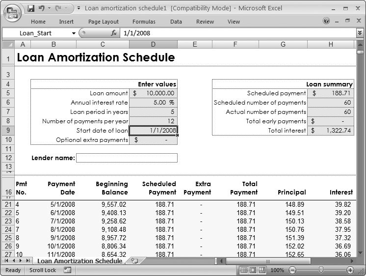 excel loan amortization template 2007 download free microsoft excel templates for loan and. Black Bedroom Furniture Sets. Home Design Ideas