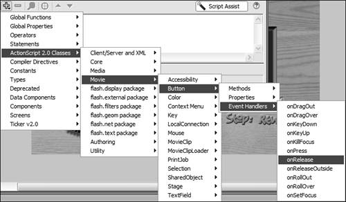 Using the Actions Panel | Macromedia Flash 8 ActionScript: Training