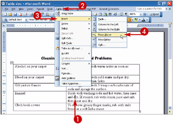 how to add another row on word