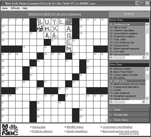 New York Times Crossword Puzzle For The Tablet Pc Absolute Beginners Guide To Tablet Pcs