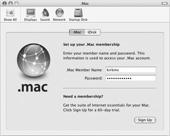 Set Up Your .Mac Account - How to Do Everything with Mac OS X Panther
