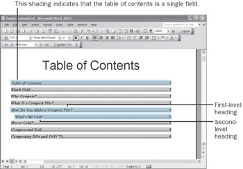 Creating and modifying a table of contents microsoft for Microsoft office table of contents template