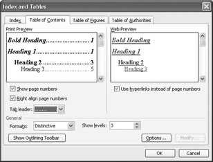 how to make table of contents word 2003