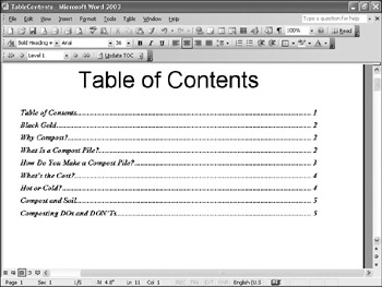 how to create table of contents in word 2003