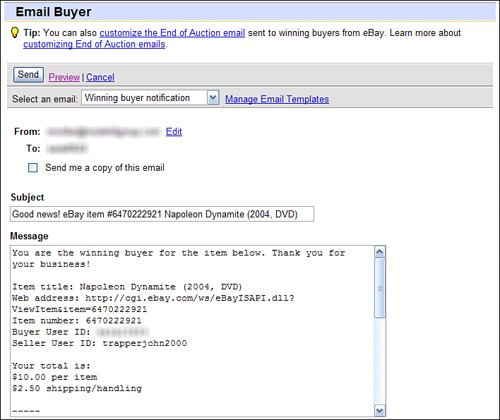 Sending Buyer Emails Absolute Beginners Guide To EBay Th Edition - Ebay message templates