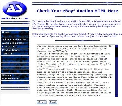 Testing Your HTML Code EBay Auction Templates Starter Kit - Dreamweaver ebay template