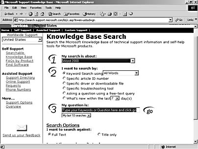 figure 3-13. the knowledge base is a kind of tech support encyclopedia on line.