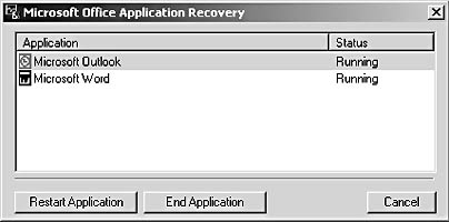figure 3-15. the microsoft office application recovery utility enables you to recover a failing application or exit a program that's locking up.