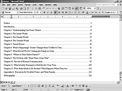 manual table of contents word