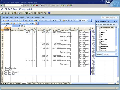 Making Microsoft Excel Pivot Tables Using SAP Report Data