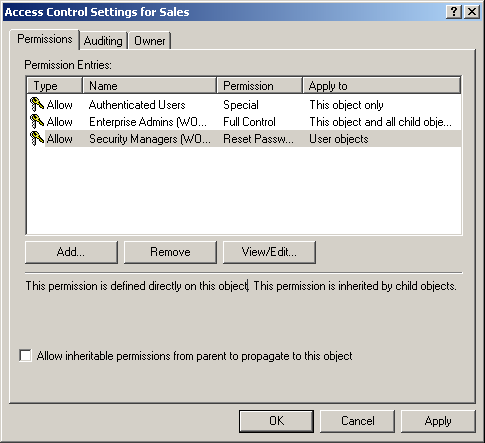 figure 4-3 user interface view of dacl example shown in table 4-2
