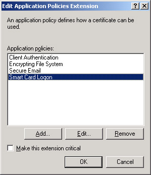 Lesson 2 managing certificate templates mcsamcse self paced figure 79 smart card logon policy added to the application policies list yadclub Images