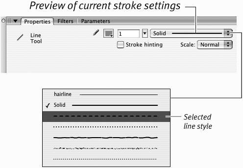 Setting Stroke Attributes | Macromedia Flash 8 for Windows
