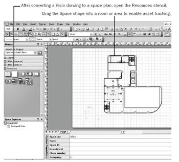 Defining Spaces in a Floor Plan | Microsoft Office Visio 2003 ...
