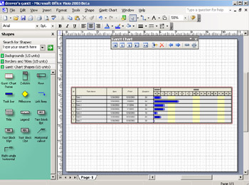 Scheduling projects with gantt charts microsoft office visio 2003 figure 12 10 for small scale projects or high level task management you can create gantt charts in visio that show dependent tasks and milestones ccuart Image collections