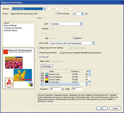 The Advanced Print Setup Dialog Box Is Where You Control How Acrobat Professional Applies Color Management To PDF File At Time
