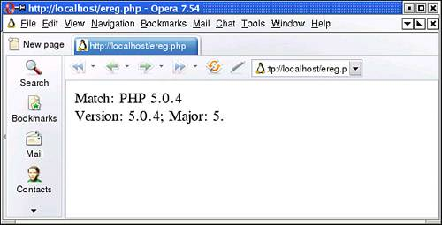 Using POSIX Regular Expressions   PHP Phrasebook