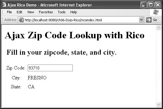 Section 6 2 Using the Rico Toolkit Ajax on Java