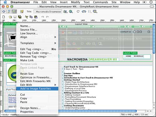 Working with the Assets Panel   Macromedia Dreamweaver MX