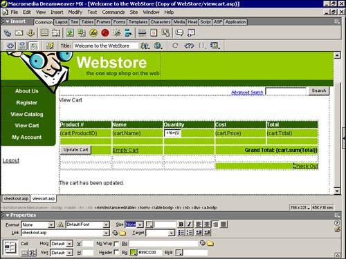 Creating the Web Store Shopping Cart   Macromedia