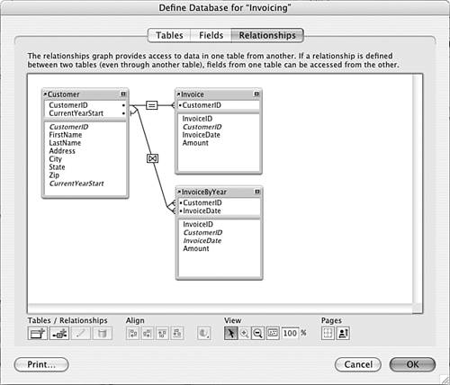 filemaker relationship graph symbols