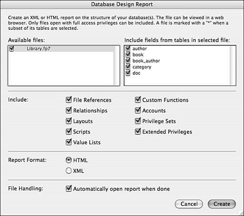 Using the Database Design Report   QUE CORPORATION - Using