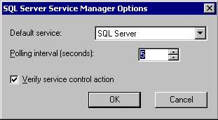 figure 3.7 - the sql server service manager options dialog box.