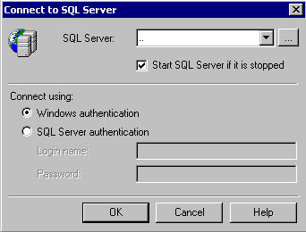 figure 3.8 - starting a stopped sql server instance when connecting.