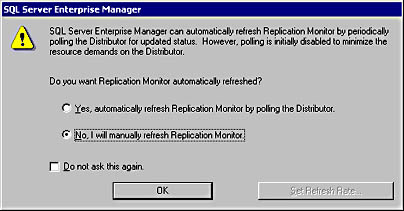 figure 15.73 - configuring replication monitor refresh properties.