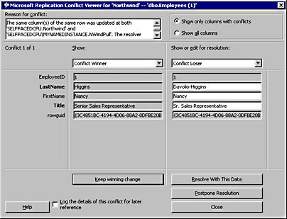figure 15.89 - microsoft replication conflict viewer.