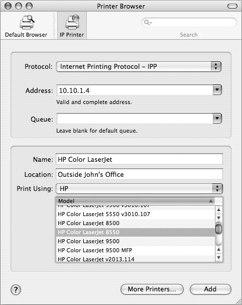 how to add printer using ip address