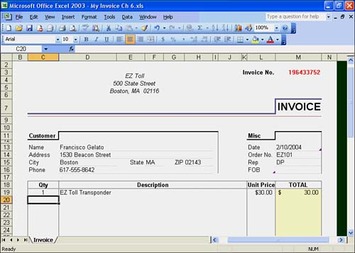 exploring excel templates - sams teach yourself microsoft office, Invoice examples