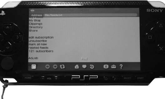 Loading plain text feeds in the PSP browser