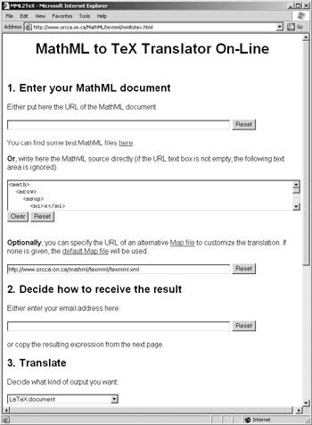 10 5 Converting XMLMathML to TeX | The MathML Handbook